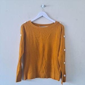 Mustard Boat Neck Buttoned Raglan L/S Sweater - S